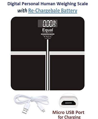 EQUAL Glass Digital Weighing Scale with Rechargeable Battery