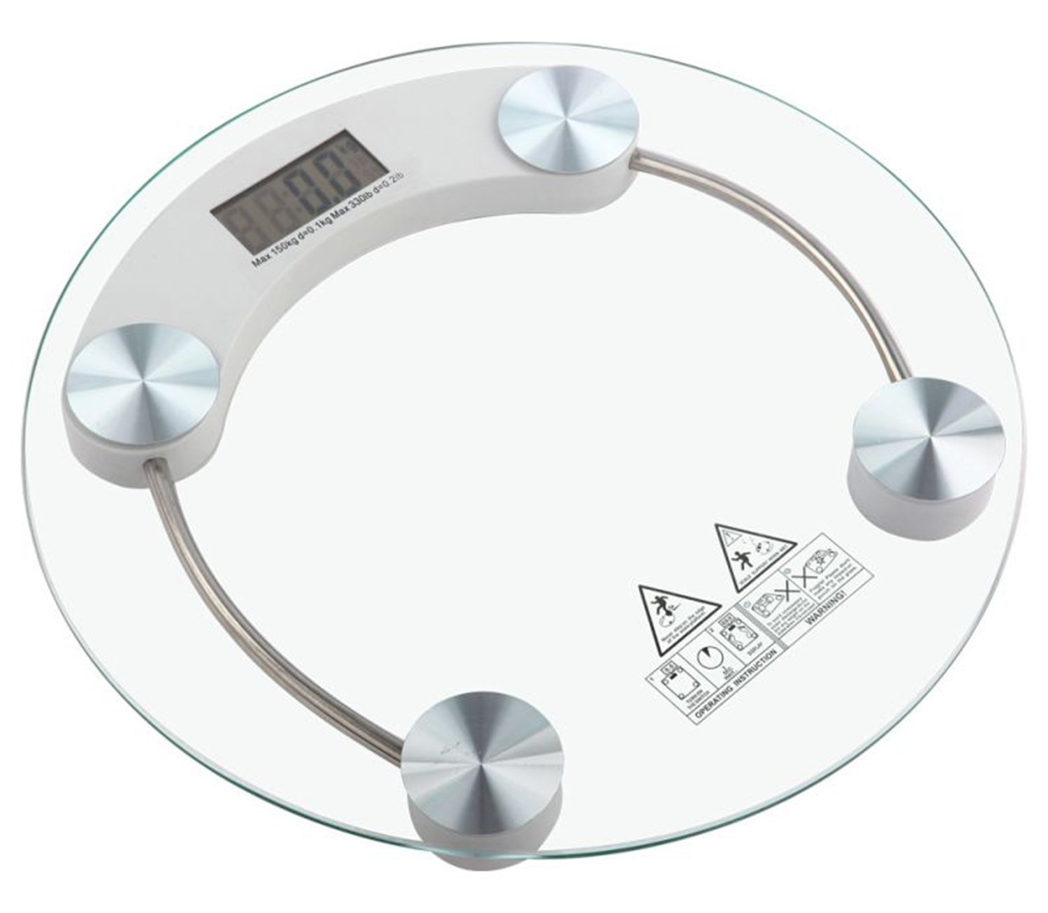 Generic RW150 Glass 150kg Clear Digital Bathroom Round Weighing Scale